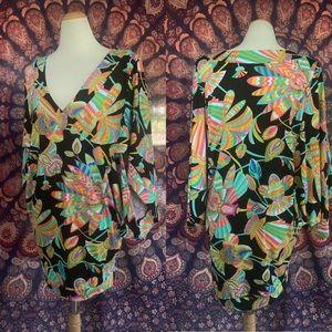 Trina Turk Neon Dolman Cocktail Dress S